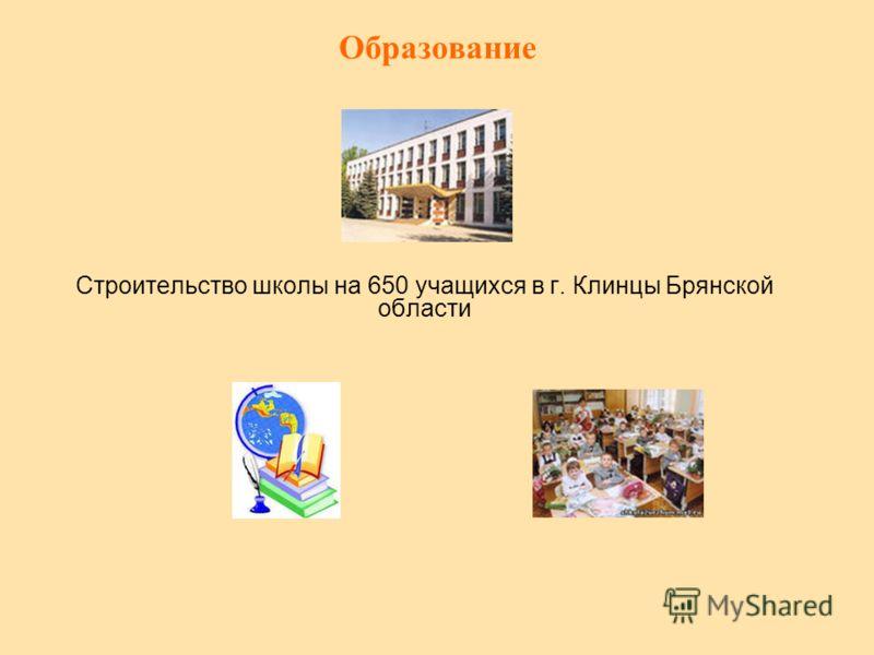 Образование Строительство школы на 650 учащихся в г. Клинцы Брянской области