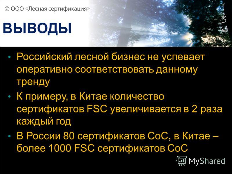 1313 ВЫВОДЫ Российский лесной бизнес не успевает оперативно соответствовать данному тренду К примеру, в Китае количество сертификатов FSC увеличивается в 2 раза каждый год В России 80 сертификатов СоС, в Китае – более 1000 FSC сертификатов СоС