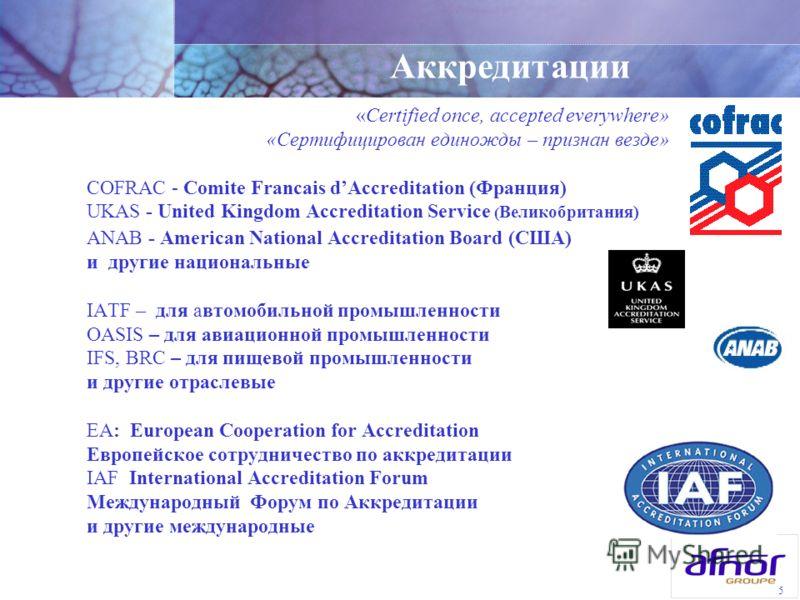 5 «Certified once, accepted everywhere» «Сертифицирован единожды – признан везде» COFRAC - Comite Francais dAccreditation (Франция) UKAS - United Kingdom Accreditation Service ( Великобритания) ANAB - American National Accreditation Board (США) и дру