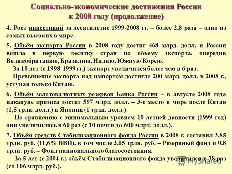 Социально-экономические достижения России к 2008 году (продолжение) 4. Рост инвестиций за десятилетие 1999-2008 гг. – более 2,8 раза – одно из самых высоких в мире. 5. Объём экспорта России в 2008 году достиг 468 млрд. долл. и Россия вошла в первую д