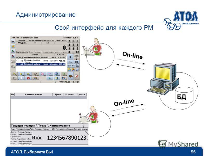 Свой интерфейс для каждого РМ Администрирование 55АТОЛ. Выбираете Вы! БД On-line On-line