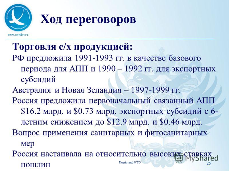www.worldec.ru Ход переговоров Торговля с/х продукцией: РФ предложила 1991-1993 гг. в качестве базового периода для АПП и 1990 – 1992 гг. для экспортных субсидий Австралия и Новая Зеландия – 1997-1999 гг. Россия предложила первоначальный связанный АП