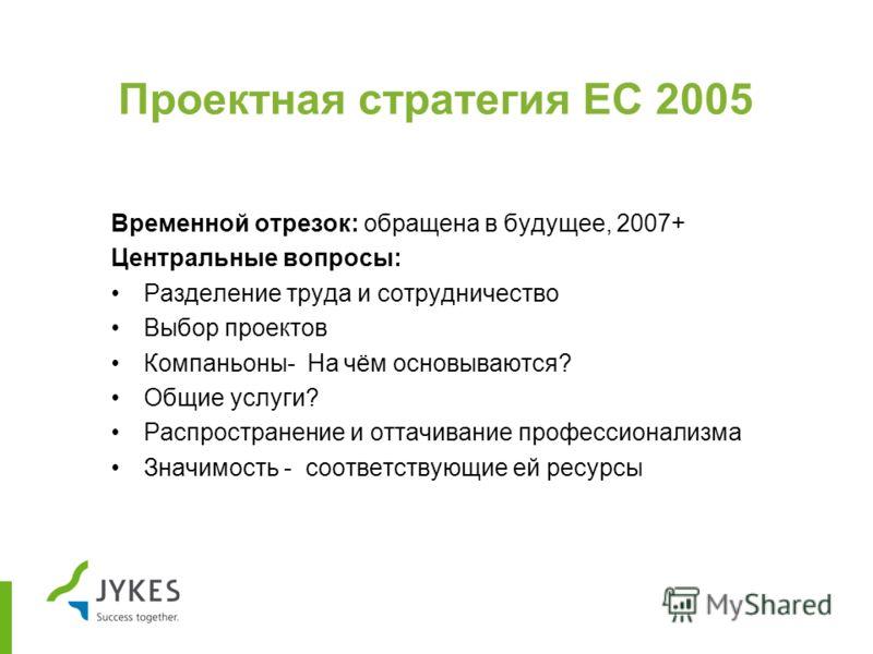 Проектная стратегия ЕС 2005 Временной отрезок: обращена в будущее, 2007+ Центральные вопросы: Разделение труда и сотрудничество Выбор проектов Компаньоны- На чём основываются? Общие услуги? Распространение и оттачивание профессионализма Значимость -