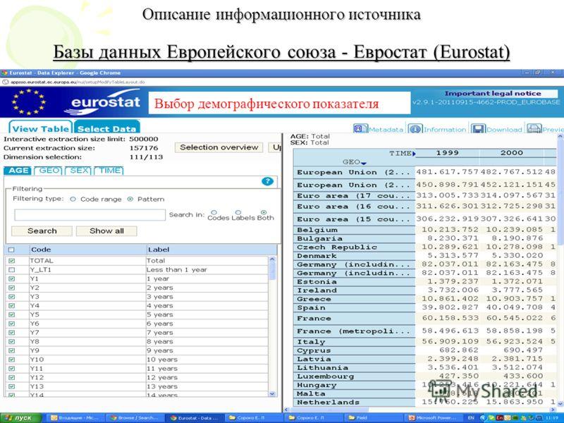 Описание информационного источника Базы данных Европейского союза - Евростат (Eurostat) Выбор демографического показателя