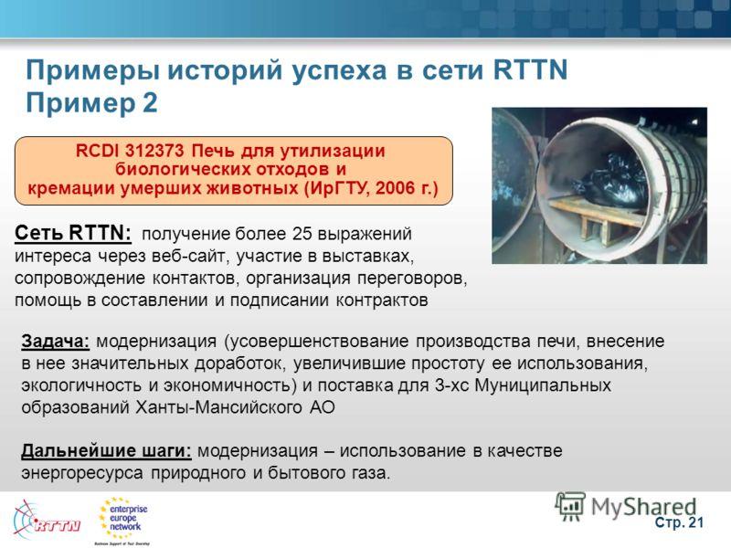 Стр. 21 Примеры историй успеха в сети RTTN Пример 2 RCDI 312373 Печь для утилизации биологических отходов и кремации умерших животных (ИрГТУ, 2006 г.) Сеть RTTN: получение более 25 выражений интереса через веб-сайт, участие в выставках, сопровождение
