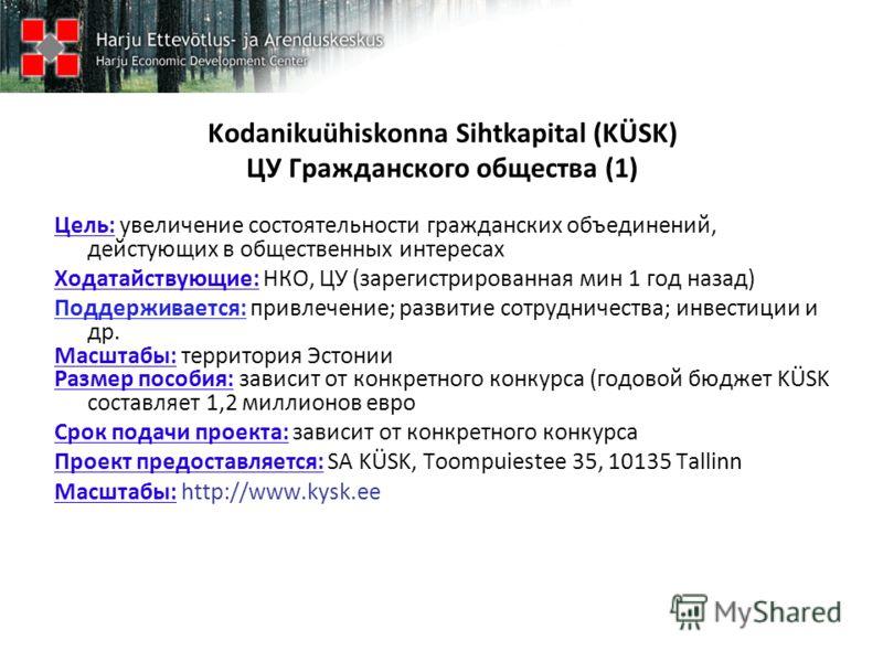 Kodanikuühiskonna Sihtkapital (KÜSK) ЦУ Гражданского общества (1) Цель: увеличение состоятельности гражданских объединений, дейстующих в общественных интересах Ходатайствующие: НКО, ЦУ (зарегистрированная мин 1 год назад) Поддерживается: привлечение;