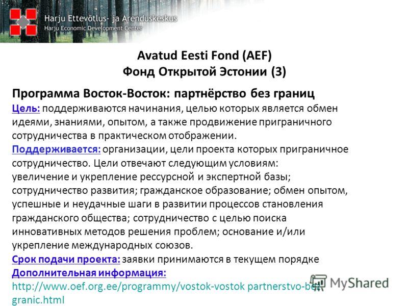 Avatud Eesti Fond (AEF) Фонд Открытой Эстонии (3) Программа Восток-Восток: партнёрство без границ Цель: поддерживаются начинания, целью которых является обмен идеями, знаниями, опытом, а также продвижение приграничного сотрудничества в практическом о