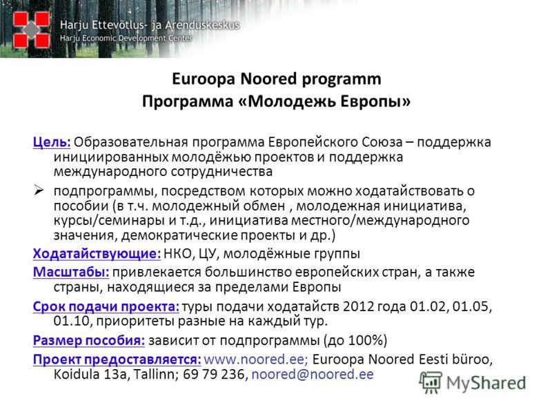 Euroopa Noored programm Программа «Молодежь Европы» Цель: Образовательная программа Европейского Союза – поддержка инициированных молодёжью проектов и поддержка международного сотрудничества подпрограммы, посредством которых можно ходатайствовать о п