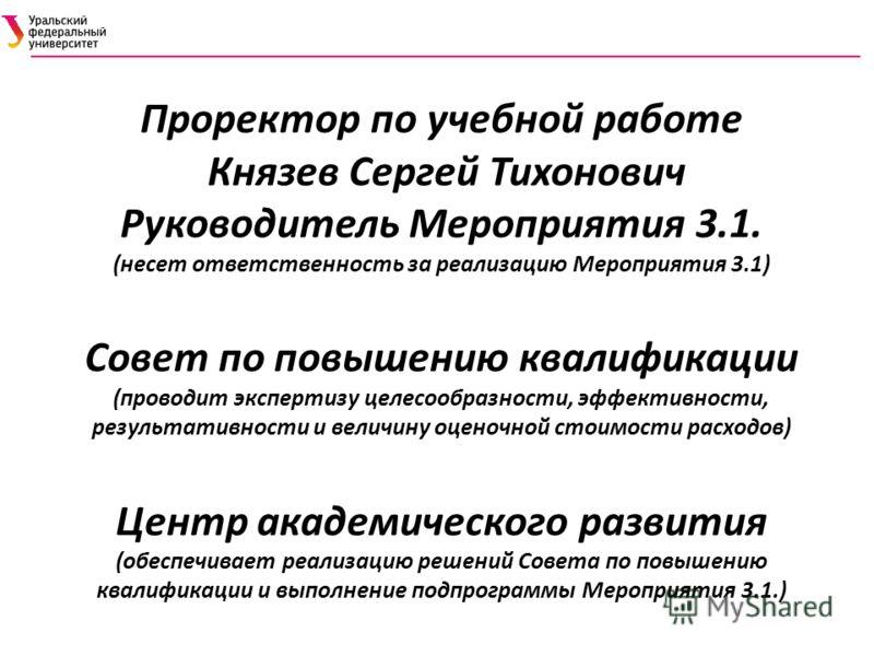 Проректор по учебной работе Князев Сергей Тихонович Руководитель Мероприятия 3.1. (несет ответственность за реализацию Мероприятия 3.1) Совет по повышению квалификации (проводит экспертизу целесообразности, эффективности, результативности и величину