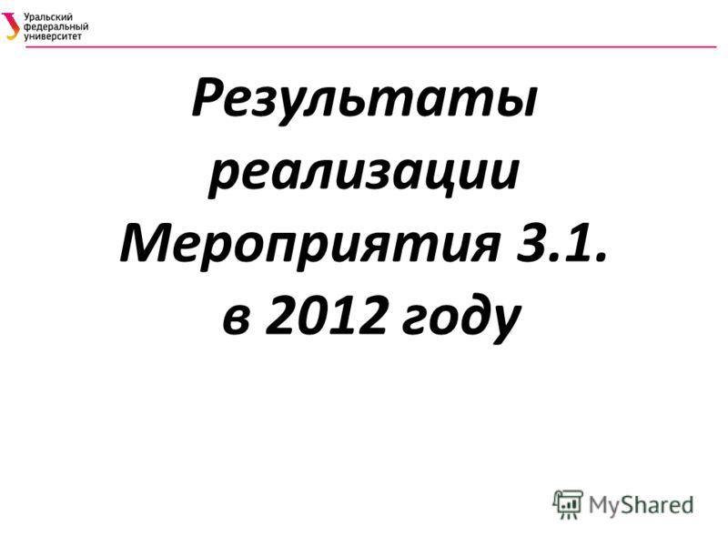 Результаты реализации Мероприятия 3.1. в 2012 году
