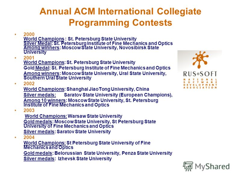 Annual ACM International Collegiate Programming Contests 2000 World Champions : St. Petersburg State University Silver Medal: St. Petersburg Institute of Fine Mechanics and Optics Among winners: Moscow State University, Novosibirsk State University 2
