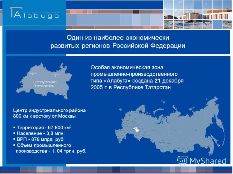 Особая экономическая зона промышленно-производственного типа «Алабуга» создана 21 декабря 2005 г. в Республике Татарстан Центр индустриального района 800 км к востоку от Москвы Территория - 67 800 км 2 Население - 3,8 млн. ВРП - 878 млрд. руб. Объем