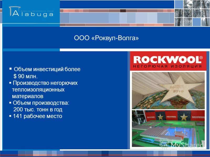 ООО «Роквул-Волга» Объем инвестиций более $ 90 млн. Производство негорючих теплоизоляционных материалов Объем производства: 200 тыс. тонн в год 141 рабочее место