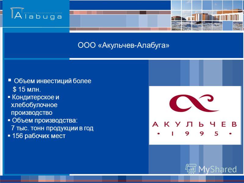 ООО «Акульчев-Алабуга» Объем инвестиций более $ 15 млн. Кондитерское и хлебобулочное производство Объем производства: 7 тыс. тонн продукции в год 156 рабочих мест