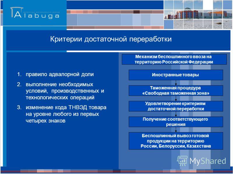 Российская Федерация * - при условии соблюдения критериев достаточной переработки Критерии достаточной переработки 1.правило адвалорной доли 2.выполнение необходимых условий, производственных и технологических операций 3.изменение кода ТНВЭД товара н