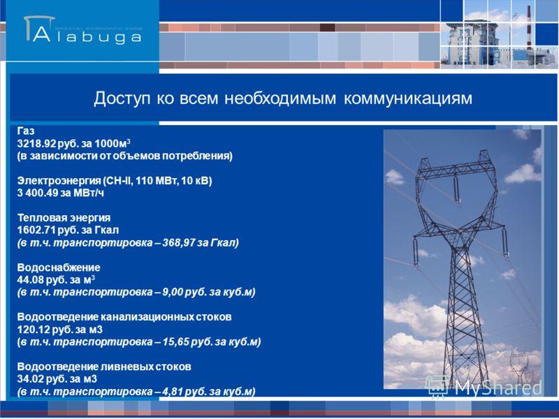 Газ 3218.92 руб. за 1000м 3 (в зависимости от объемов потребления) Электроэнергия (СН-II, 110 МВт, 10 кВ) 3 400.49 за МВт/ч Тепловая энергия 1602.71 руб. за Гкал (в т.ч. транспортировка – 368,97 за Гкал) Водоснабжение 44.08 руб. за м 3 (в т.ч. трансп