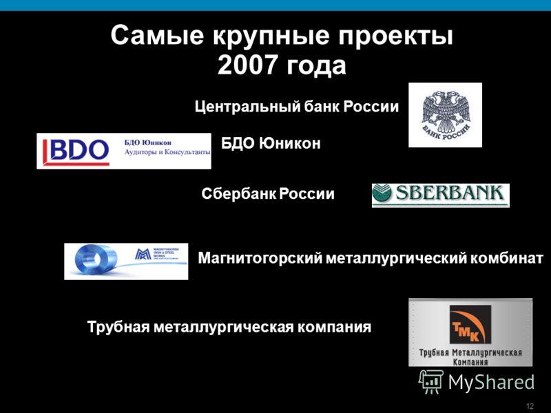 12 Самые крупные проекты 2007 года Центральный банк России БДО Юникон Сбербанк России Магнитогорский металлургический комбинат Трубная металлургическая компания