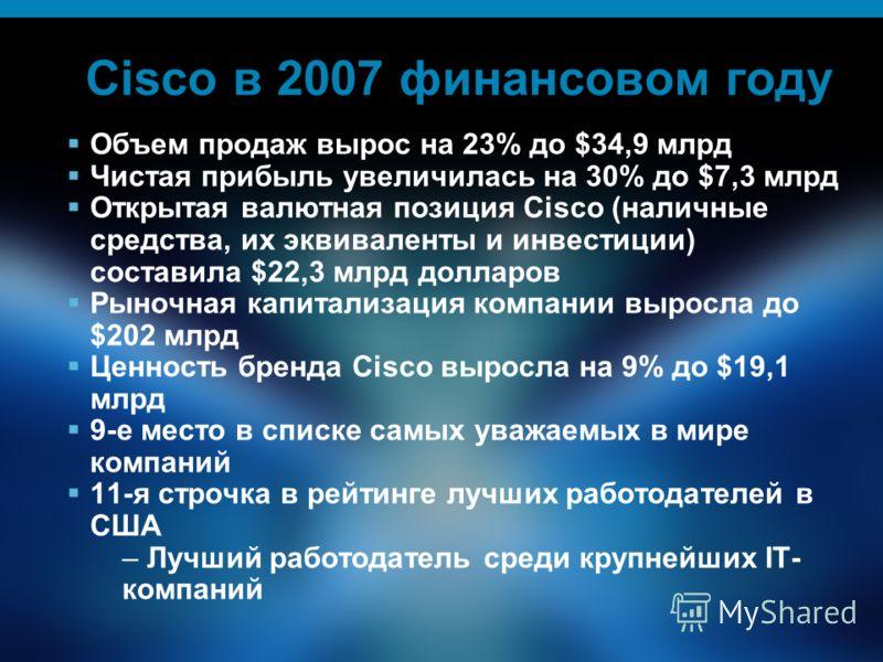 2 Cisco в 2007 финансовом году Объем продаж вырос на 23% до $34,9 млрд Чистая прибыль увеличилась на 30% до $7,3 млрд Открытая валютная позиция Cisco (наличные средства, их эквиваленты и инвестиции) составила $22,3 млрд долларов Рыночная капитализаци