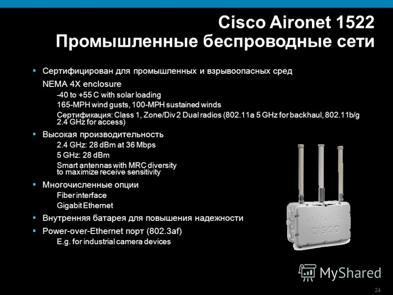 24 Cisco Aironet 1522 Промышленные беспроводные сети Сертифицирован для промышленных и взрывоопасных сред NEMA 4X enclosure -40 to +55 C with solar loading 165-MPH wind gusts, 100-MPH sustained winds Сертификация: Class 1, Zone/Div 2 Dual radios (802