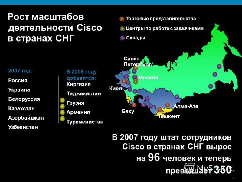8 Рост масштабов деятельности Cisco в странах СНГ 2007 год : Россия Украина Белоруссия Казахстан Азербайджан Узбекистан В 2007 году штат сотрудников Cisco в странах СНГ вырос на 96 человек и теперь превышает 350 В 2008 году добавятся: Киргизия Таджик