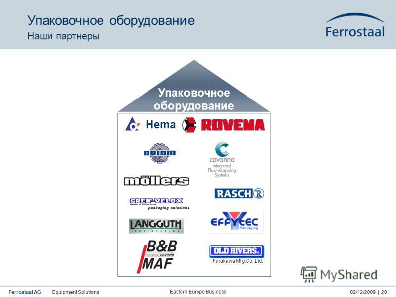 Ferrostaal AG Equipment Solutions02/12/2009 | Eastern Europe Business 20 Hema Упаковочное оборудование Furukawa Mfg.Co.,Ltd. Упаковочное оборудование Наши партнеры