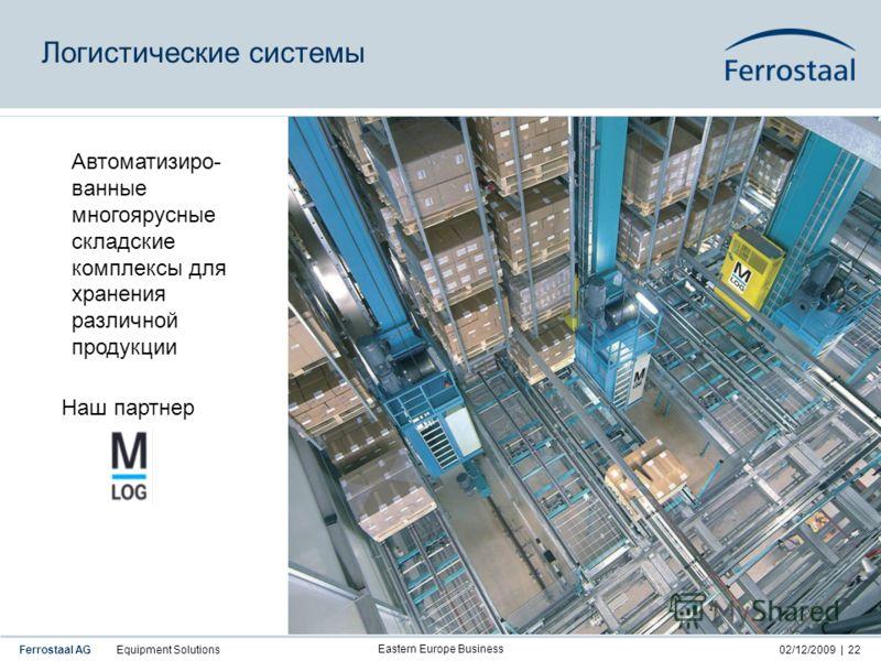 Ferrostaal AG Equipment Solutions02/12/2009 | Eastern Europe Business 22 Автоматизиро- ванные многоярусные складские комплексы для хранения различной продукции Логистические системы Наш партнер