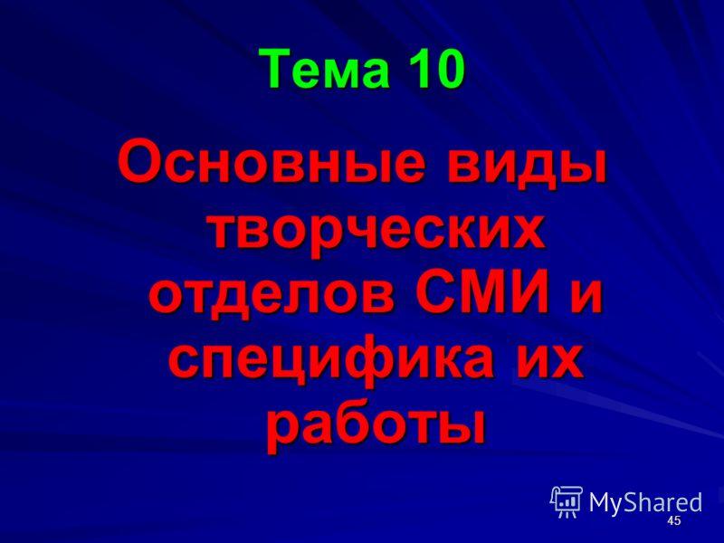 45 Тема 10 Основные виды творческих отделов СМИ и специфика их работы