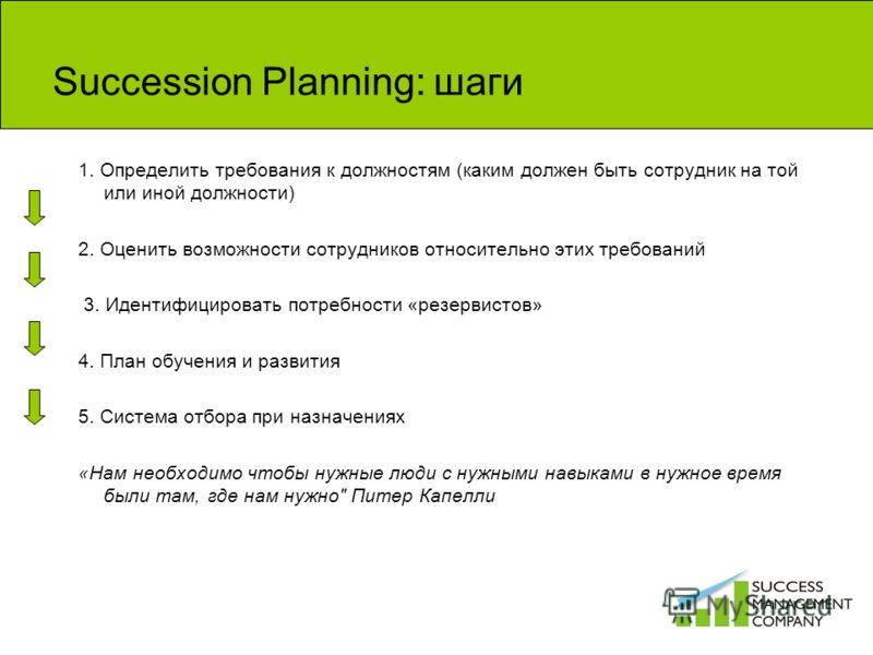 Succession Planning: шаги 1. Определить требования к должностям (каким должен быть сотрудник на той или иной должности) 2. Оценить возможности сотрудников относительно этих требований 3. Идентифицировать потребности «резервистов» 4. План обучения и р