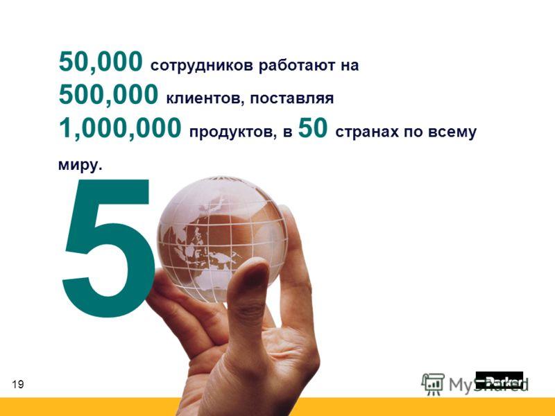 19 50,000 сотрудников работают на 500,000 клиентов, поставляя 1,000,000 продуктов, в 50 странах по всему миру. 0 5