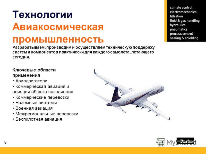 8 Технологии Авиакосмическая промышленность Разрабатываем, производим и осуществляем техническую поддержку систем и компонентов практически для каждого самолёта, летающего сегодня. Ключевые области применения Авиадвигатели Коммерческая авиация и авиа