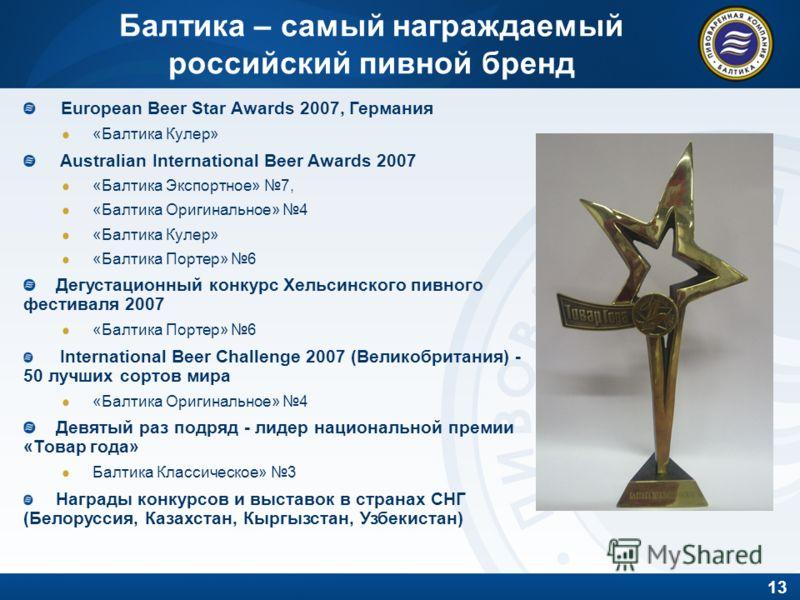 13 Балтика – самый награждаемый российский пивной бренд European Beer Star Awards 2007, Германия «Балтика Кулер» Australian International Beer Awards 2007 «Балтика Экспортное» 7, «Балтика Оригинальное» 4 «Балтика Кулер» «Балтика Портер» 6 Дегустацион