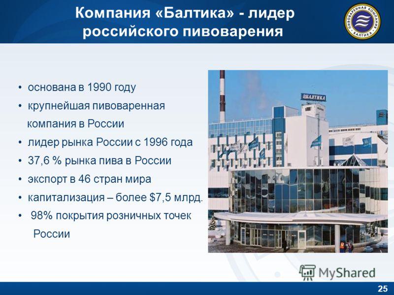 25 Компания «Балтика» - лидер российского пивоварения основана в 1990 году крупнейшая пивоваренная компания в России лидер рынка России с 1996 года 37,6 % рынка пива в России экспорт в 46 стран мира капитализация – более $7,5 млрд. 98% покрытия розни