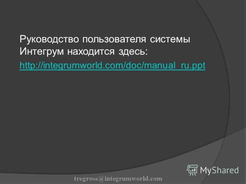 Руководство пользователя системы Интегрум находится здесь: http://integrumworld.com/doc/manual_ru.ppt tregross@integrumworld.com