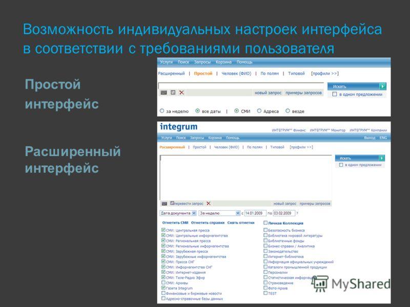 Возможность индивидуальных настроек интерфейса в соответствии с требованиями пользователя Простой интерфейс Расширенный интерфейс