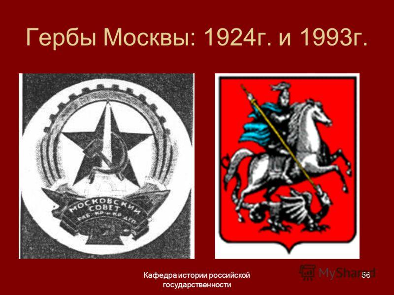 Кафедра истории российской государственности 56 Гербы Москвы: 1924г. и 1993г.