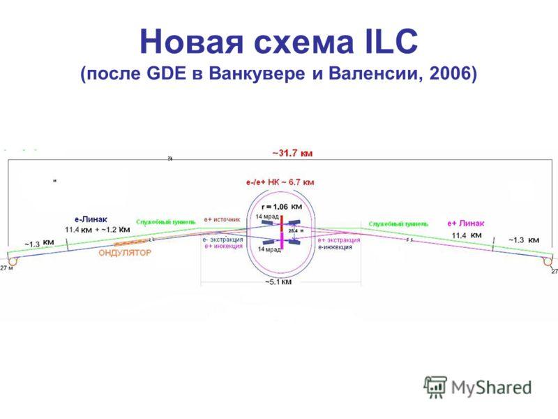 Новая схема ILC (после GDE в Ванкувере и Валенсии, 2006)