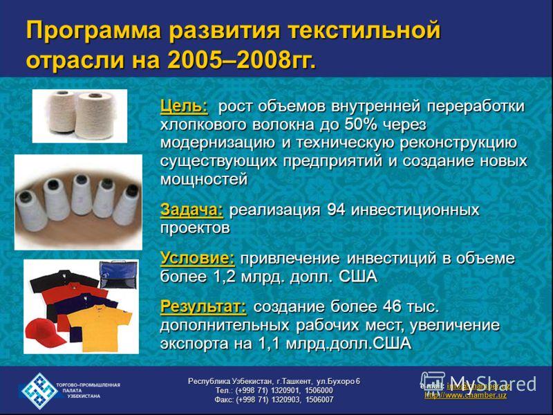 Программа развития текстильной отрасли на 2005–2008гг. Цель: рост объемов внутренней переработки хлопкового волокна до 50% через модернизацию и техническую реконструкцию существующих предприятий и создание новых мощностей Задача: реализация 94 инвест