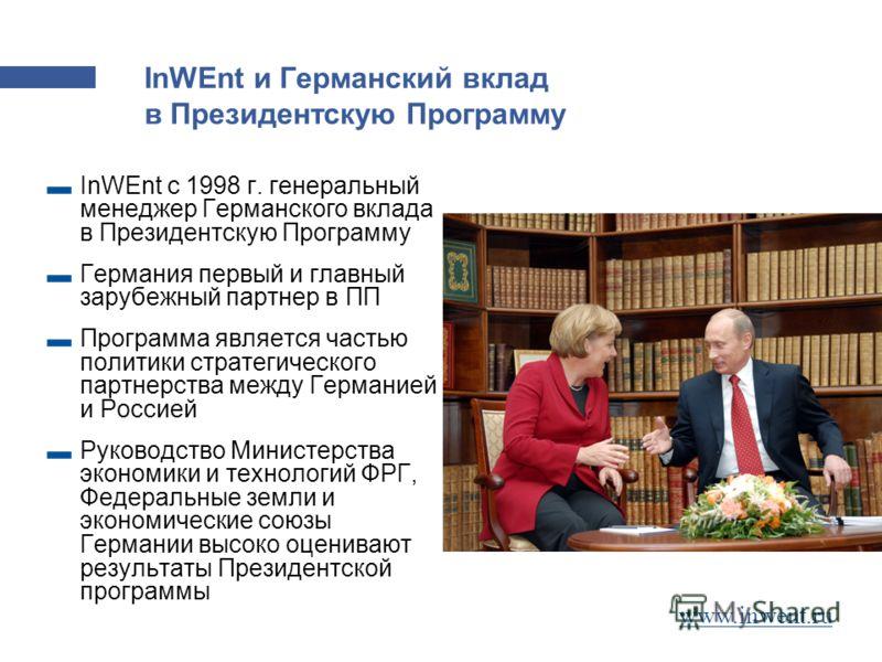 Германский вклад в Президентскую Программу InWEnt и Германский вклад в Президентскую Программу InWEnt c 1998 г. генеральный менеджер Германского вклада в Президентскую Программу Германия первый и главный зарубежный партнер в ПП Программа является час