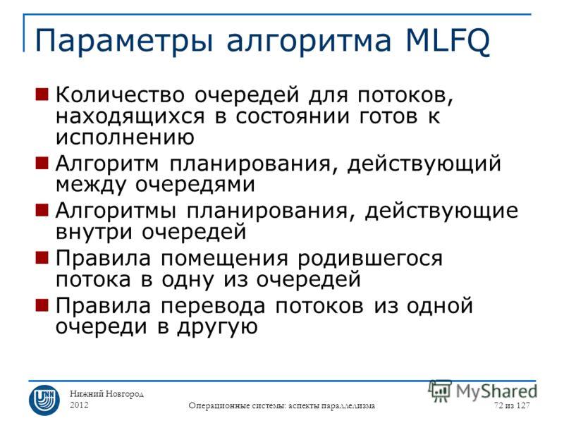Нижний Новгород 2012 Операционные системы: аспекты параллелизма 72 из 127 Параметры алгоритма MLFQ Количество очередей для потоков, находящихся в состоянии готов к исполнению Алгоритм планирования, действующий между очередями Алгоритмы планирования,
