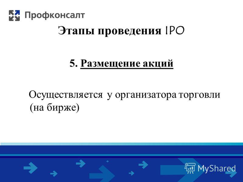 Этапы проведения IPO 5. Размещение акций Осуществляется у организатора торговли (на бирже)