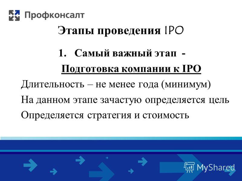 Этапы проведения IPO 1.Самый важный этап - Подготовка компании к IPO Длительность – не менее года (минимум) На данном этапе зачастую определяется цель Определяется стратегия и стоимость