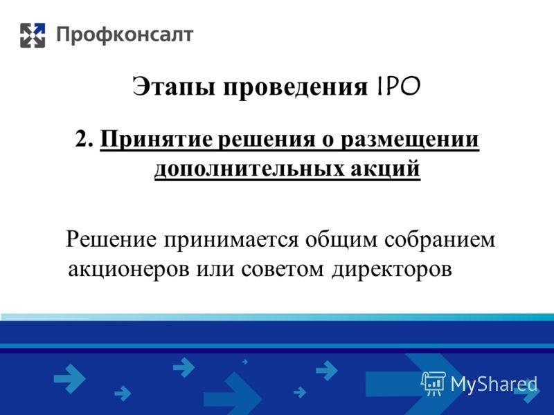 Этапы проведения IPO 2. Принятие решения о размещении дополнительных акций Решение принимается общим собранием акционеров или советом директоров