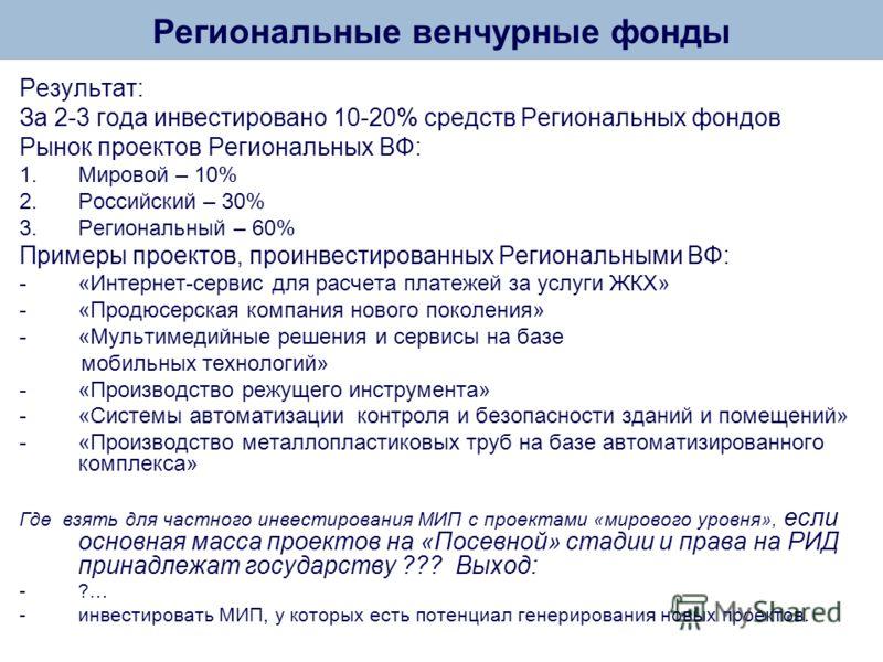 Результат: За 2-3 года инвестировано 10-20% средств Региональных фондов Рынок проектов Региональных ВФ: 1.Мировой – 10% 2.Российский – 30% 3.Региональный – 60% Примеры проектов, проинвестированных Региональными ВФ: -«Интернет-сервис для расчета плате