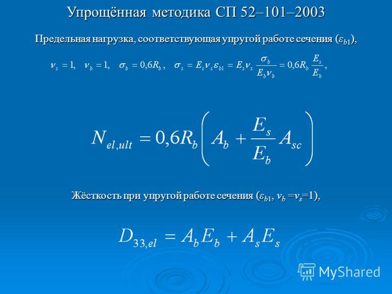 Упрощённая методика СП 52–101–2003 Предельная нагрузка, соответствующая упругой работе сечения (ε b1 ), Жёсткость при упругой работе сечения (ε b1, ν b =ν s =1),
