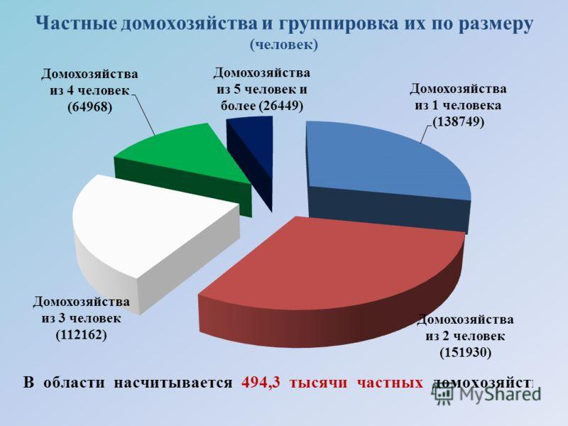Частные домохозяйства и группировка их по размеру (человек)