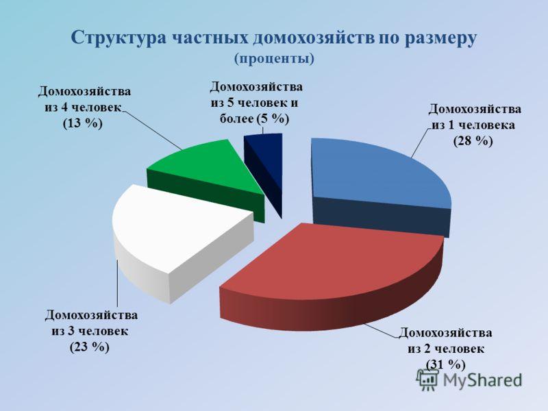 Структура частных домохозяйств по размеру (проценты)