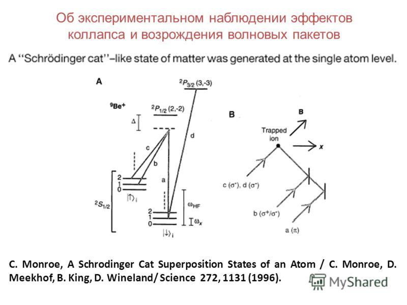 C. Monroe, A Schrodinger Cat Superposition States of an Atom / C. Monroe, D. Meekhof, B. King, D. Wineland/ Science 272, 1131 (1996). Об экспериментальном наблюдении эффектов коллапса и возрождения волновых пакетов