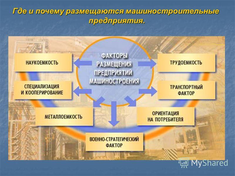Где и почему размещаются машиностроительные предприятия. предприятия.