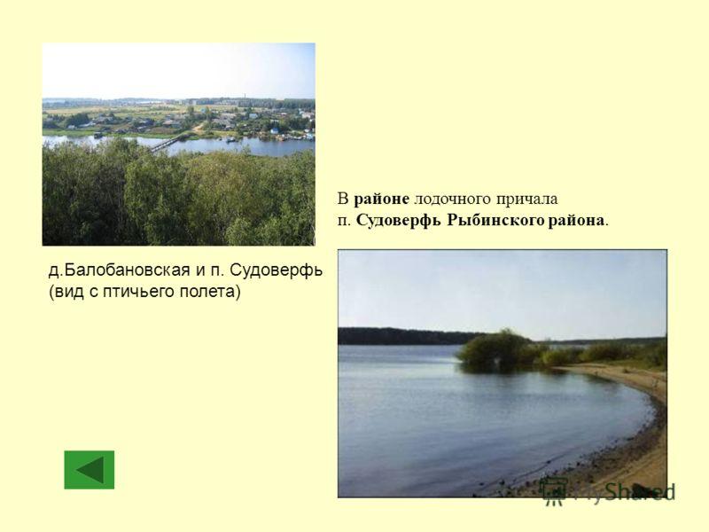 д.Балобановская и п. Судоверфь (вид с птичьего полета) В районе лодочного причала п. Судоверфь Рыбинского района.