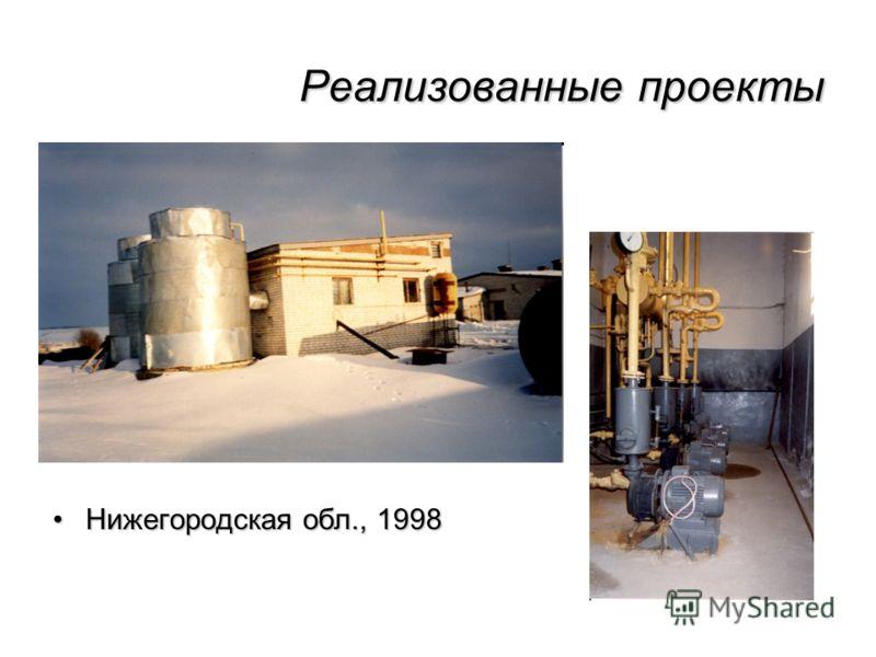 Реализованные проекты Нижегородская обл., 1998Нижегородская обл., 1998